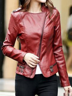 Women Leather Jacket Motorcycle Long Sleeve Zippered Leather Coat