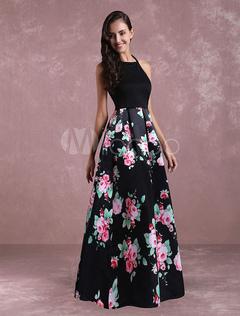 Flroal Maxi Dress Open Back Women's Sleeveless Casual Dress