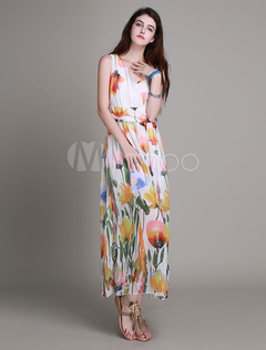 White Maxi Dress With Print Chic Cotton Flax for Women