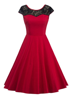 Red Vintage Dress Lace Jewel Neck Backless Cap Sleeve Pleated Skater Dress