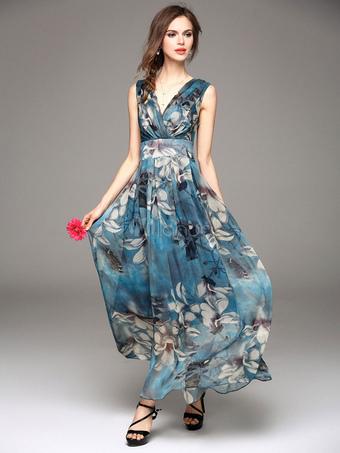 Maxi vestito in chiffon 2019 abito estivo floreale vestito lungo da donna 22d2f5433ab