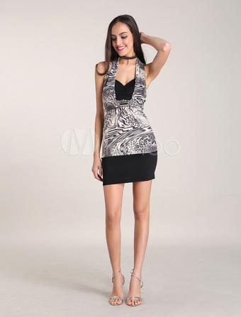 Beautiful Leopard Gray 60% Cotton 40% Spandex Womens Summer Dress