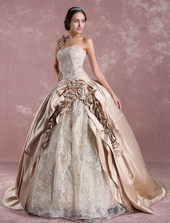 Princess Wedding Dresses Champagne Victoria Bridal Gown One Shoulder Lace Embroidered Satin Wedding Gown