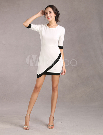 White Bodycon Dress Asymmetric Bottom Half Sleeves Elastic Party Dress(Made In Italy)