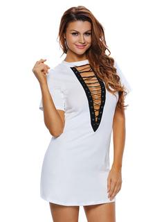 White T-shirt Dress Women's Plunging Half Sleeve Lace Up Short Dress