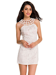 White Bodycon Dress Cut Out Lace Polyester Club Dress
