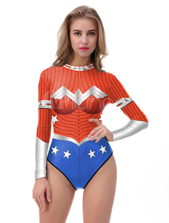 Red Bathing Suit Wonder Woman 3D Printed Long Sleeve Round Neck One Piece Swimsuit