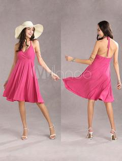 Modern Plunging Necklines Chinese Style Suspender 60% Red Cotton 40% Spandex Womens Summer Dress