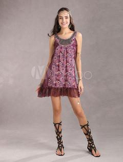 Modern Purple Chiffon Suspenders Womens Dress