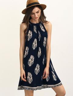 Black Shift Dress Jewel Sleeveless Leaf Printed Short Dress For Women