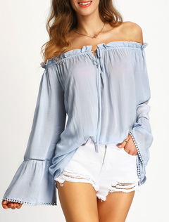 Pleated Women's Blouses Off Shoulder Long Flare Sleeve Drawstring Chiffon Tops