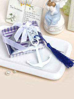 Boho Bookmark Gift Silver Anchor Shape Tassel Ribbon Wrap Wedding Favor