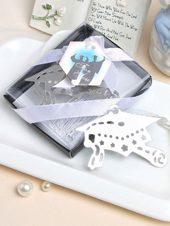 Silver Bookmark Gift Academic Style Doctorial Hat Ribbon Wrap Wedding Favor