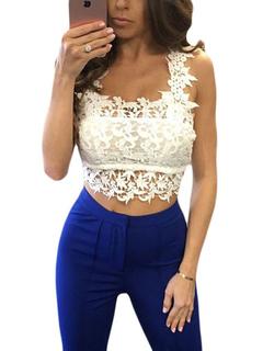 Lace Crop Top White Women's Straps Casual Mini Cami Tops