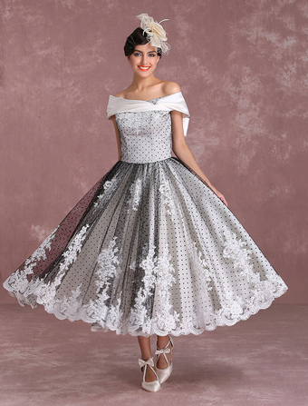Vestido de novia blanco con azul
