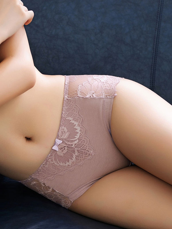 Pink Lace Panties Women's Semi-Sheer Brief Underwear Lingerie