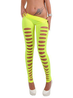 Women's Skinny Legging Cut Out Elastic Waist Multi Color Sexy Shaping Tight Pants