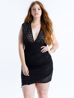 Sexy Bodycon Dress Plus Size Black Plunging Neckline Sleeveless Ruched Slim Fit Short Dress
