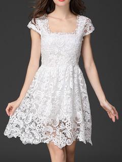 Women's Lace Dress Square Neck Cap Sleeve Wavy Hem Pleated Short Flare Dress