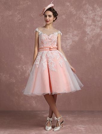 Vintage Wedding Dress Blush Pink Lace Applique Bridal Gown Short Illusion Organza Double Sash Bows Sleeveless Knee Length Bridal Dress Milanoo