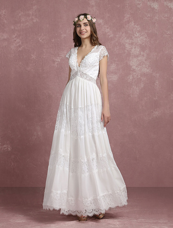 6a25446b81e Summer Wedding Dresses 2019 Boho Beach Bridal Gown Lace Beading Chiffon  Deep V Neck Cap Sleeve