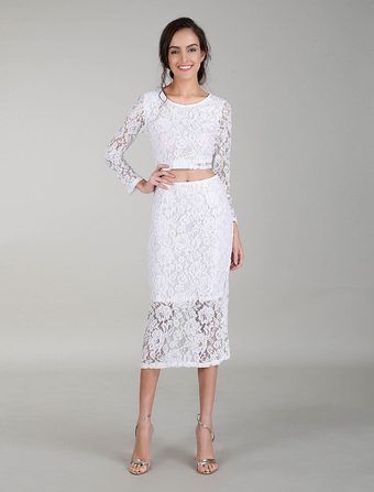 White Cocktail Dresses Lace Dress Sets Long Sleeves Crop Top Bodycon Evening Dress