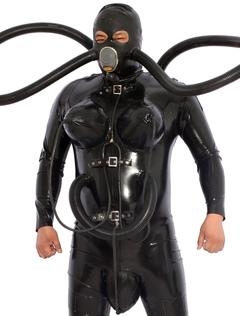 18d11e038 Black Diving Catsuit Latex Zentai Com Saco De Máscara De Gás Inflável  Halloween