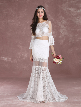 Boho wedding dress bohemian wedding dress online milanoo crop top wedding dresses 2017 boho beach summer bridal dress lace mermaid illusion bell sleeve illusion junglespirit Gallery