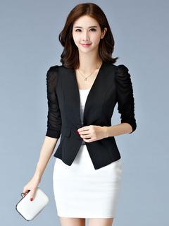 Black Blazer Women Casual Blazer Illusion Ruched Sleeve Spring Jacket