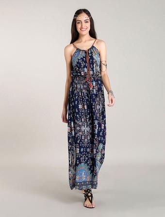 Bohemain Maxi Dresses Blue Boho Dress Halter Summer Dress