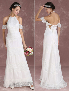 Summer Wedding Dresses 2018 Boho Lace Mermaid Bridal Gown Halter Off The Shoulder Backless Chiffon Patchwork Train Bridal Dress Milanoo