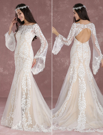 Summer Wedding Dresses 2019 Boho Beach Mermaid Bridal Dress Lace Applique  Keyhole Bateau fishtail Champagne Bridal d001a70ea308