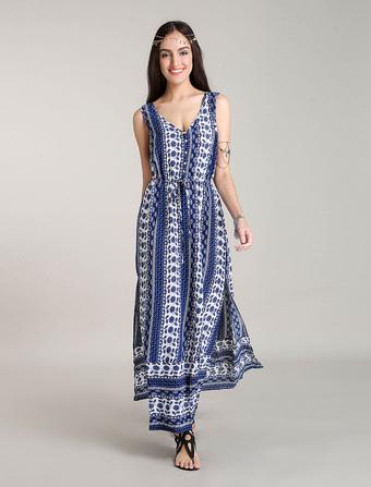 Maxi Bohemian Dresses Blue Floral Boho Dress Side Slits Summer Dresses