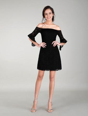 Black Cocktail Dress Off Shoulder Lace Dress Bell Sleeves Evening Dress