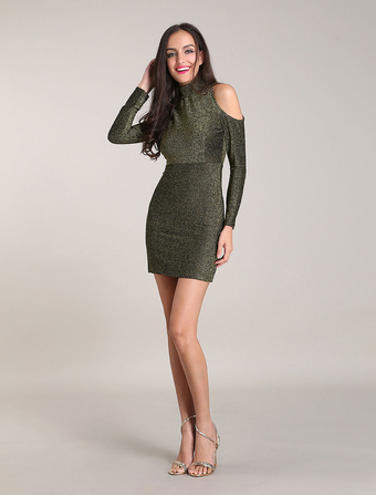 Women's Bodycon Dresses Cold Shoulder High Collar Long Sleeves Green Metallic Party Dress