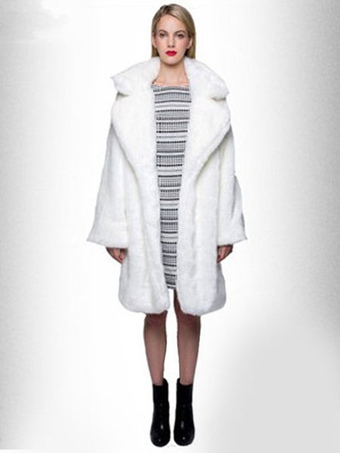 Faux Fur Coat Women White Winter Coat Long Sleeve Overcoat
