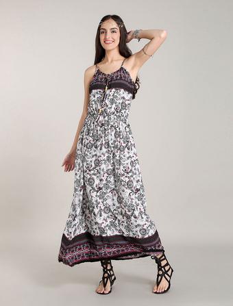 White Bohemian Dresses Cotton Summer Maxi Boho Dress Halter Beach Dress