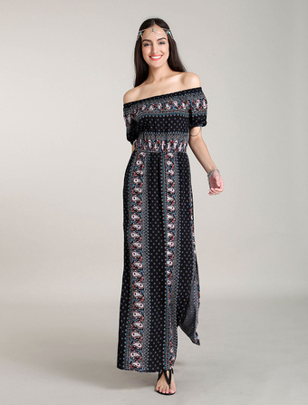 Maxi Boho Dresses Off Shoulder Bohemian Floral Printed Maxi Dress Side Slits Summer Dress