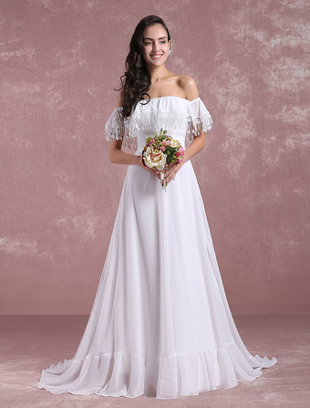 35016c0d03d5 Summer Wedding Dresses 2019 Beach Boho Tassels Chiffon Bridal Dress Off The  Shoulder A Line Bridal