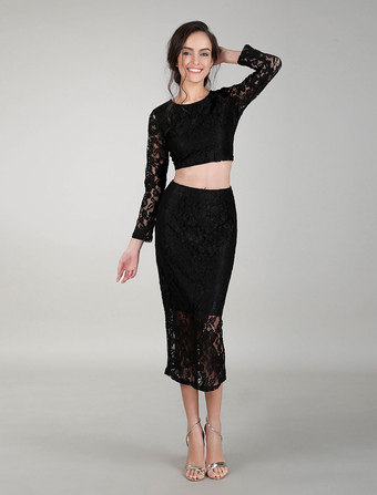 Black Cocktail Dress Two Piece Outfits Lace Dress Sets Long Sleeves Crop Top Evening Dress