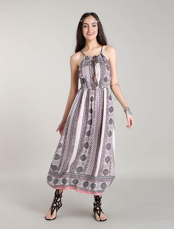 White Boho Dresses Maxi Bohemian Summer Dress Cotton Halter Beach Dress