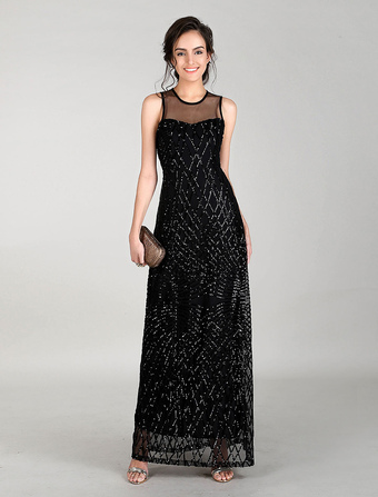 Black Evening Dresses Maxi Sequin Prom Dress Illusion Neck Long Cocktail Dress
