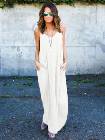 Grey Maxi Dress Strappy Sleeveless Pleated Long Dress For Women