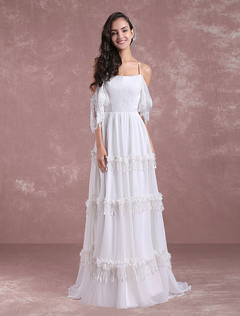 2017 beach wedding dresses for destination weddings milanoo boho wedding dresses 2018 summer lace chiffon beach bridal gown off the shoulder back cross tiered junglespirit Image collections