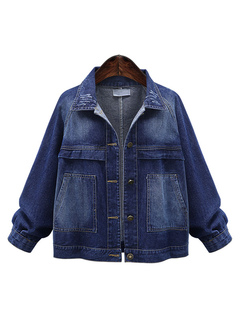 Blue Denim Jacket Plus Size Women's Spread Collar Long Sleeve Distressed Pockets Oversized Jean Jacket