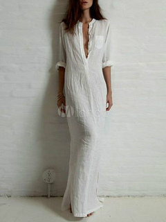 White Maxi Dress With Deep-V Cotton Flax for Women