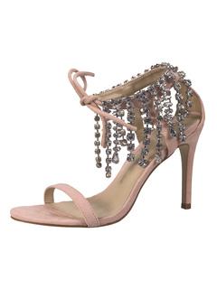 Scarpe da sera sandali aperto 8cm tacco a fino strass festa donna d50c9d4ddd2