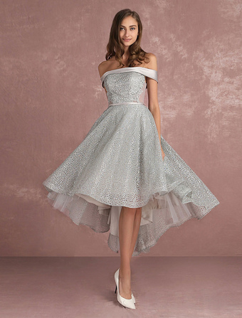 191b6ded0bf0 Sequined Prom Dress Grey Asymmetrical Cocktail Dress Off The Shoulder  Sleeveless A Line Party Dress