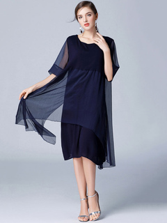 Blue Shift Dress Round Neck Half Sleeve Casual Dress For Women