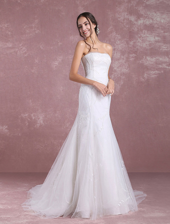 Summer Wedding Dresses 2018 Tulle Bridal Dress Mermaid Leaf Vine Beading Strapless Backless Beach Bridal Gown With Chapel Train